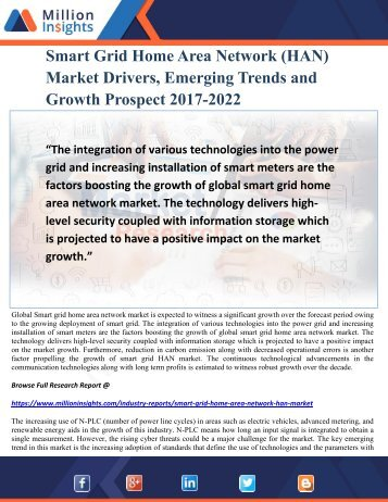 Smart Grid Home Area Network (HAN) Market Drivers, Emerging Trends and Growth Prospect 2017-2022