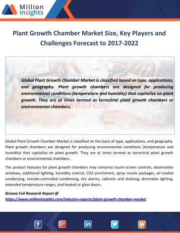 Plant Growth Chamber Market Size, Key Players and Challenges Forecast to 2017-2022
