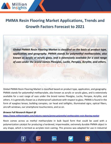 PMMA Resin Flooring Market Applications, Trends and Growth Factors Forecast to 2021
