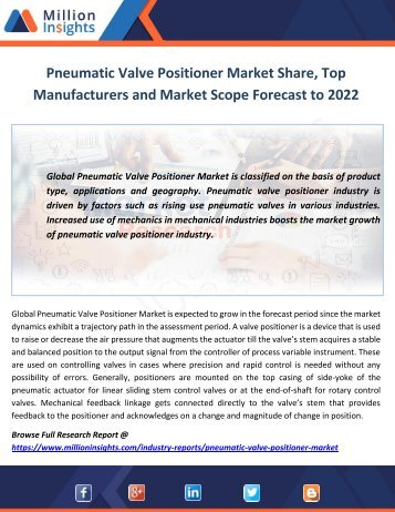 Pneumatic Valve Positioner Market Share, Top Manufacturers and Market Scope Forecast to 2022