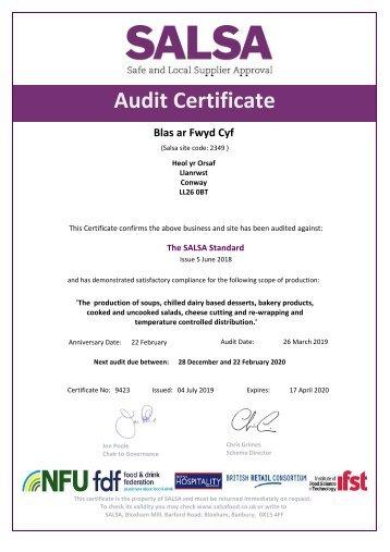 SALSA Certificate 2018