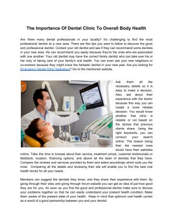 The Importance Of Dental Clinic To Overall Body Health