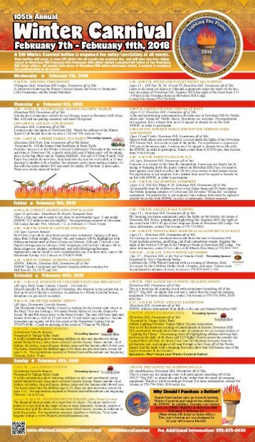 2018 Winter Carnival Schedule of Events