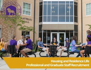 University of North Alabama - Housing and Residence Life Professional Staff Recruitment Guide