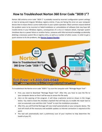 "How to Troubleshoot Norton 360 Error Code ""3039 1""?"