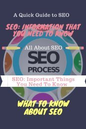 Important Things on SEO