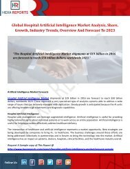 Global Hospital Artificial Intelligence Market Analysis, Share, Growth, Industry Trends, Overview And Forecast To 2023