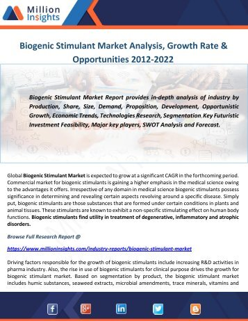 Biogenic Stimulant Market Analysis, Growth Rate & Opportunities 2012-2022