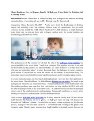 Olansi Healthcare Co., Ltd Exposes Benefits Of Hydrogen Water Bottle For Drinking Safe & Healthy Water