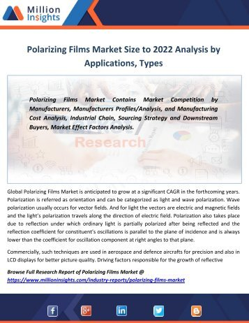 Polarizing Films Market Size to 2022 Analysis by Applications, Types