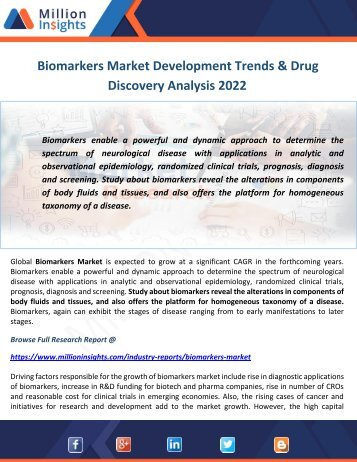 Biomarkers Market Development Trends & Drug Discovery Analysis 2022