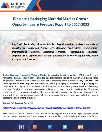 Bioplastic Packaging Material Market Growth Opportunities & Forecast Report to 2017-2022