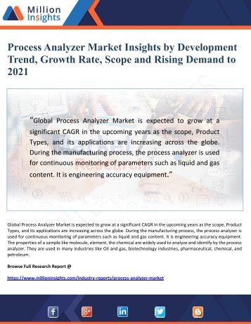 Process Analyzer Market Insights by Development Trend, Growth Rate, Scope and Rising Demand to  2021