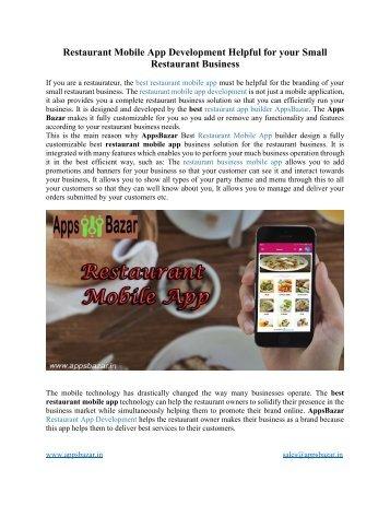 Restaurant Mobile App Development Helpful for your Small Restaurant Business