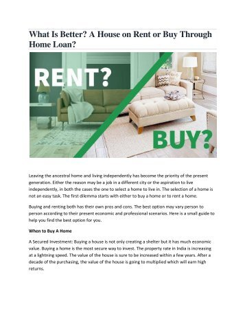 What Is Better A House on Rent or Buy Through Home Loan