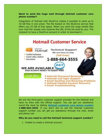 Hotmail customer care phone 1-888-664-3555 Number