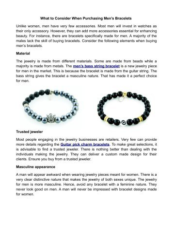 What to Consider When Purchasing Men's Bracelets