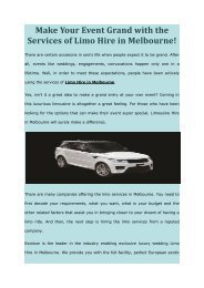 Make Your Event Grand with the Services of Limo Hire in Melbourne!