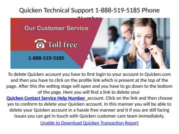 Quicken Fixing Account Problem 1-888-519-5185