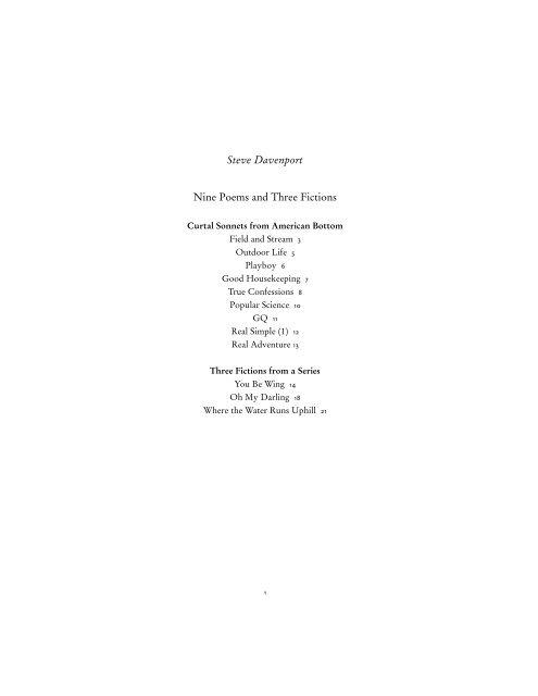 Steve Davenport Nine Poems and Three Fictions - The Literary ...
