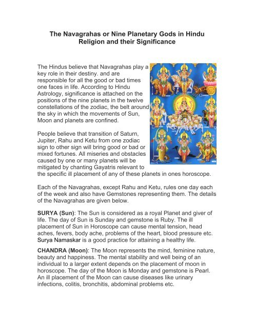 The Navagrahas or nine Planetary Gods in Hindu Religion and