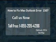 How to Fix Mac Outlook Error 150? 1-855-205-4286 For Help