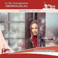 Gemeindebrief Ev.-Ref. Kirchengemeinde Oberholzklau Dezember 2017 - Januar 2018