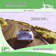 Gemeindebrief Ev.-Ref. Kirchengemeinde Oberholzklau Juni-Juli 2017 Online-Version