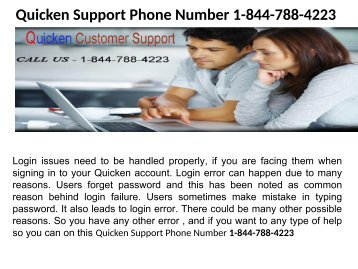 Quicken issues Phone Number 1-844-788-4223