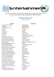 Jukebox Song List - DJ Entertainment