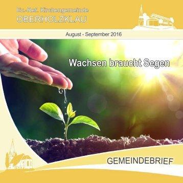 Gemeindebrief Ev.-Ref. Kirchengemeinde Oberholzklau August-Sept. 2016 - Online-Version