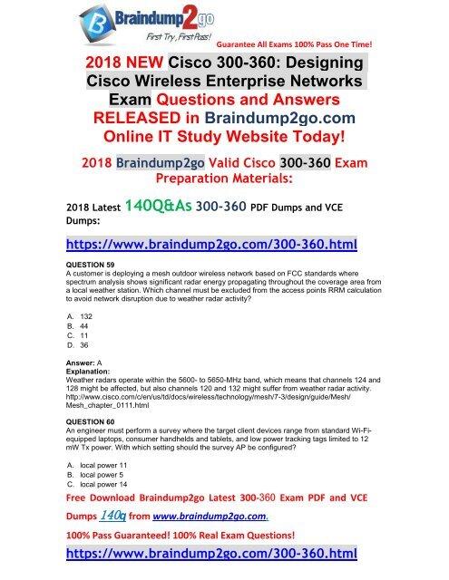 Full Version]Braindump2go 2018 New 300-360 PDF and 300-360 VCE Dumps