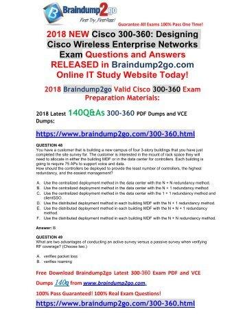[Full Version]Braindump2go 2018 New 300-360 PDF and VCE Dumps 140Q&As Download(Q48-Q58)