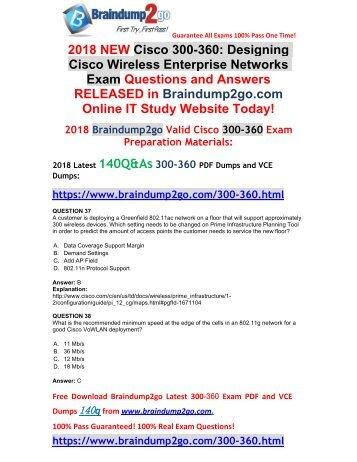 [Full Version]Braindump2go 2018 New 300-360 VCE Dumps 140Q&As Download(Q37-Q47)