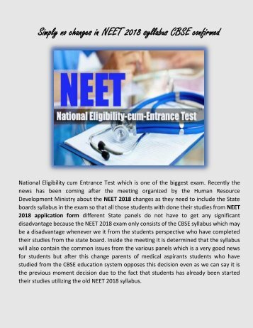 NEET 2018 Syllabus No Changes Confirmed by CBSE