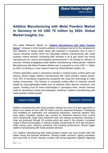 Additive Manufacturing with Metal Powders Market By Application, Material, Region – Forecast To 2024