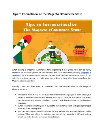Tips to Internationalize the Magento eCommerce Store