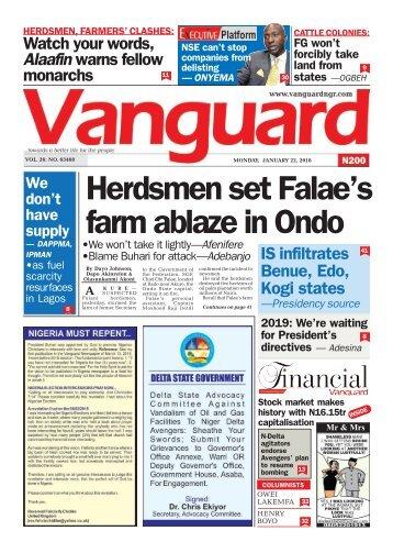 22012018 - Herdsmen set Falae's farm ablaze in Ondo