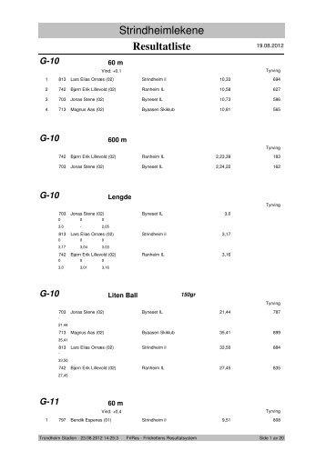 Resultatliste - Komplett - Strindheim IL