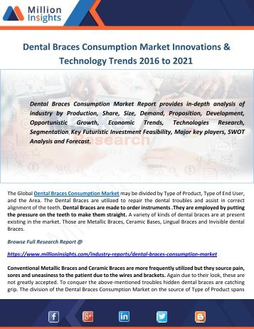 Dental Braces Consumption Market Innovations & Technology Trends 2016 to 2021