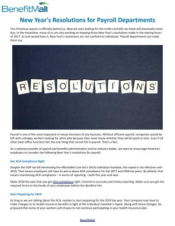 New Year's Resolutions for Payroll Departments