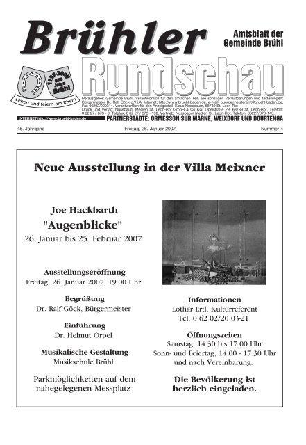 """Neue Ausstellung in der Villa Meixner """"Augenblicke"""" - Gemeinde Brühl"""