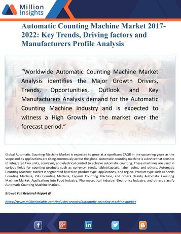 Automatic Counting Machine Market 2022 Research Report by New Horizons, Trajectory Growth Factors