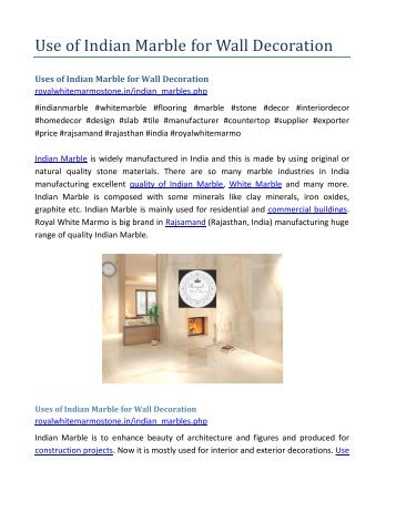 Use of Indian Marble for Wall Decoration