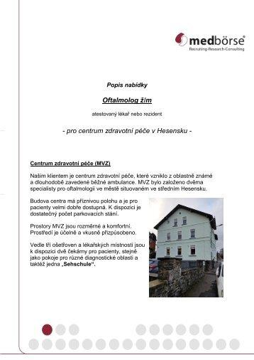 Popis nabídky Oftalmolog
