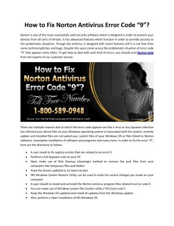 "How to Fix Norton Antivirus Error Code ""9""?"