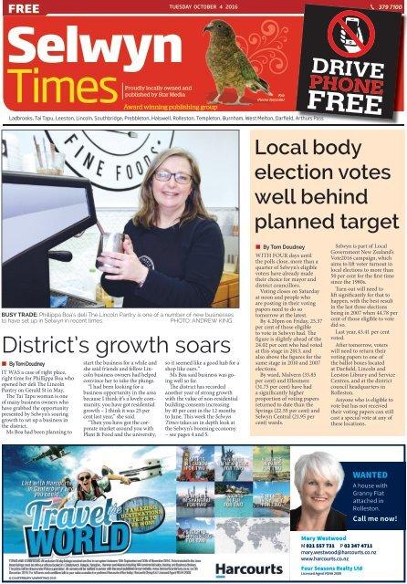 Selwyn Times: October 04, 2016