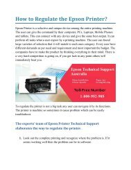 How to Regulate the Epson Printer?