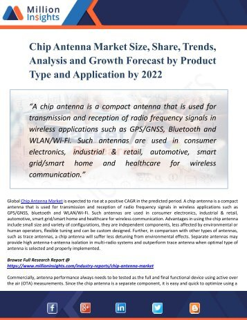 Chip Antenna Market Analysis by Product, Types, Marketing Channel, Development Trend, Market Effect, Factors Analysis by 2022