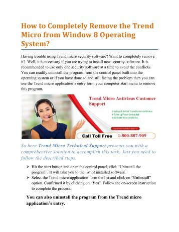 How to Completely Remove the Trend Micro from Window 8 Operating System?